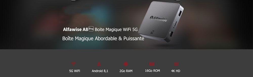 Alfawise A8 Pro Boite Magique WiFi 5G - Noir Prise Européenne
