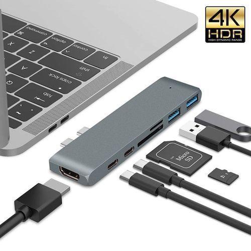 Dual Type-c USB C MacBook Pro Laptop Docking Stations To HDMI TF SD Card  Reader HUB Docking Station 4K Support 2018 Mac Air