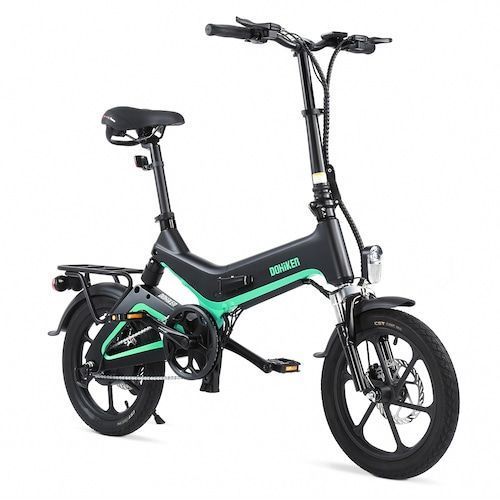 Dohiker 16 Inch Electric Bike Removable 7.5AH Lithium-Ion Battery 250W Motor Full Suspension Folding Commuter E-bike - Natural Black Poland