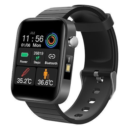 Gocomma T68 Smart Watch Body Temperature Heart Rate and Blood Pressure Information Reminder Multi-language Smartwatch - Black