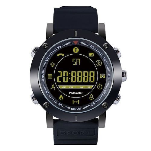 EX19 1.21 inch Large Screen Full Metal Case Smart Watch Long Standby Time Phone Information Reminder Outdoor Sports Tracker Smartwatch - Black Silicone Band