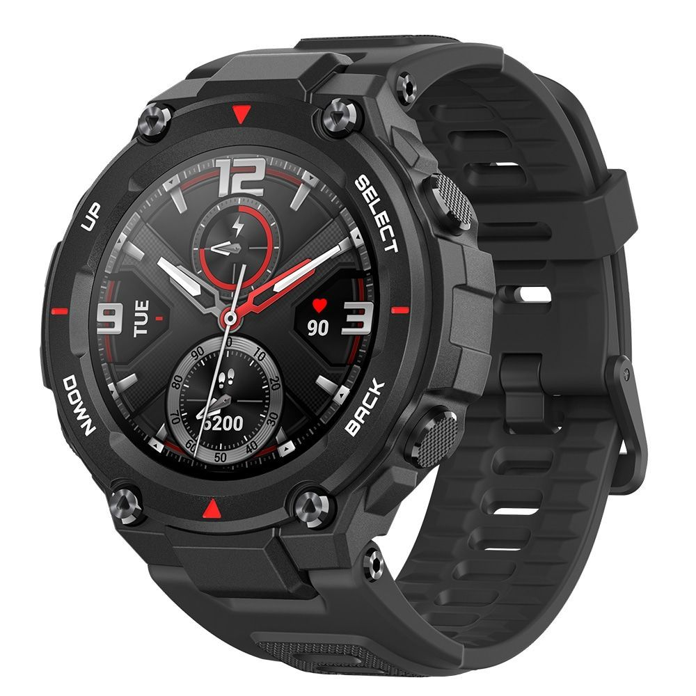 Amazfit T-Rex Outdoor Smart Watch 1.3 inch AMOLED Color Screen 20 Days Battery Life 5 ATM Waterproof 14 Sports Modes 12 Military Certifications Dual GPS System Global Version - Carbon Fiber Black
