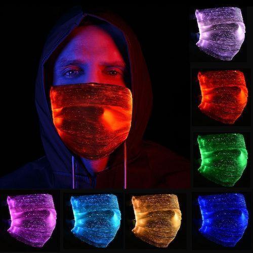 LED Colorful Luminous Mask Halloween Christmas Party Bar Nightclub Light-emitting Respirator - Black