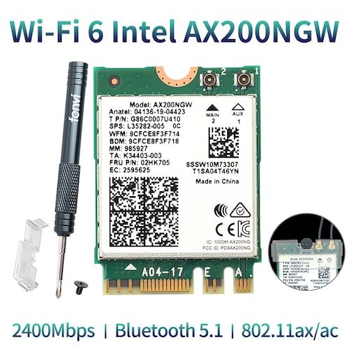 Wireless Dual Band 2400Mbps WiFi 6 For Intel AX200 NGFF M.2 Bluetooth 5.1 Wifi Card AX200NGW Wifi 6 Adapter 2.4G/5Ghz 802.11ac/ax - AX200NGW   3%commissions