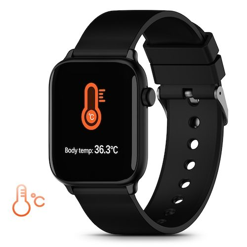 TICWRIS GTS Real-time Body Temperature Watch Heart Rate Monitor 7 Sports Modes Sports Smartwatch with Temp Sensor Bluetooth 4.0 - Black