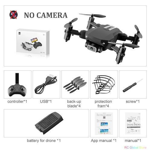 Mini RC Drone with 4K HD Camera WiFi FPV UAV Aerial Photography Helicopter Foldable LED Light Quadrocopter Quality Toy AOSST - NO camera Black