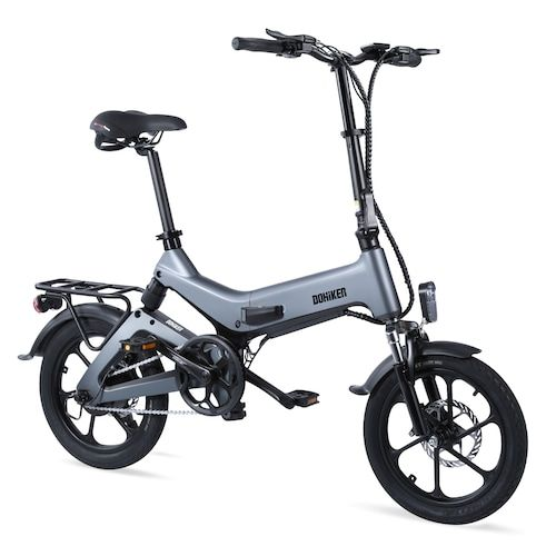 Dohiker 16 Inch Electric Bike Removable 7.5AH Lithium-Ion Battery 250W Motor Full Suspension Folding Commuter E-bike - Carbon Gray Poland