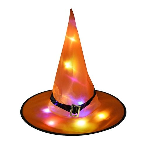 1pc Halloween Decoration Witch Hats LED Lights Cap Halloween Costume Props  Outdoor Tree Hanging Ornament Home Glow Party Decor