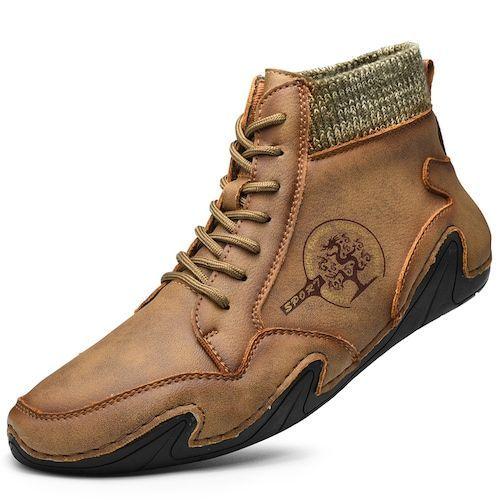 SENBAO Men Boots Fall Winter Mid-Top Trend Socks Shoes
