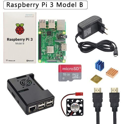 Raspberry Pi 3 Model B+ Plus Starter Kit + ABS Case  + 32 GB SD Card + 3A Power Adapter + Cooling Fan + Heat Sink + HDMI Cable - Bundle1