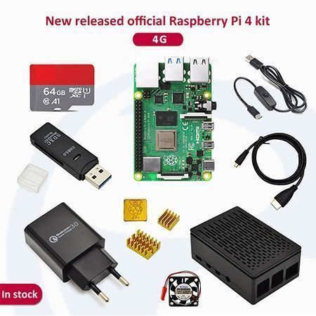 Raspberry pi 4 2GB/4GB/8GB Kit Raspberry Pi 4 Model B PI 4B +Heat Sink+Power Adapter+Case +HDMI Cable+3.5 inch Screen - 4GB-64G SDcard