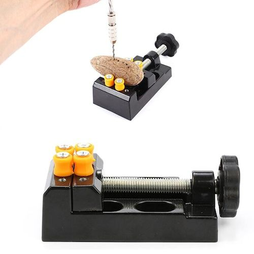 Gocomma Tools Clamping Machine Vise Aluminum Alloy Eight-hole Clamping  Machine Nuclear Carving Vise Engraver Hand Twist Drill Accessories +  Screwdriver