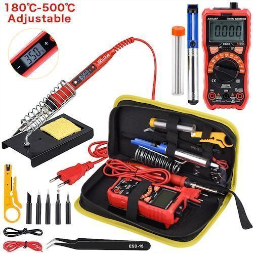 Soldering Iron Kits 80W 220V Adjustable Temperature Digital Multimeter Auto Ranging LCD Solder iron Tips Welding Rework Tools - dark blue 80W 110V
