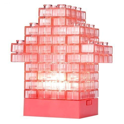 USB Battery Two-use DIY Cabin Light Creative Colorful LED Night Light Cabin House Building Block Module 64PCS