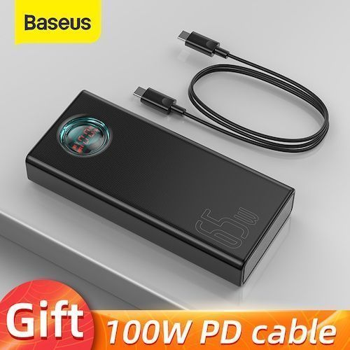 Baseus 65W Power Bank 30000mAh PD Quick Charging FCP SCP Powerbank Portable External Charger For Smartphone Laptop Tablet - PD Power Bank Black CHINA