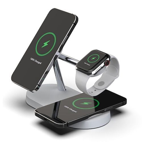 Multi-function 5-in-1 Magnetic Wireless Charger Smartwatch Headphone Desktop Phone Stand Charger 15W Fast Charging for iPhone 12 Series - Black