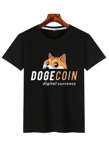 Men Fashion Simple Print Personality Trend Round Neck Dogecoin Short-sleeved T-shirt Digital Currency Tops