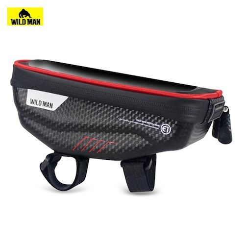 WILD MAN Bicycle Hard Shell Handlebar Bag with Touch Screen