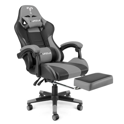 Furgle Office Chair with Footrest Gaming Chair Massager Lumbar Support  Computer Chair with Rolling Swivel Leather Desk Chair