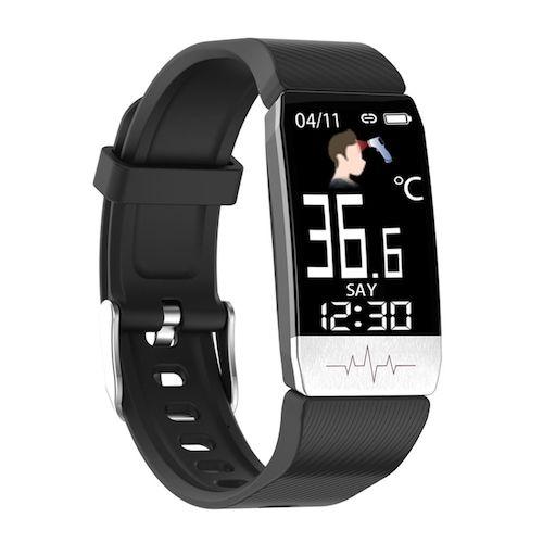 T1S ECG And Temperature Smart Watch ECG + PPG Multi Function Blood Pressure Heart Rate ECG Bracelet - black