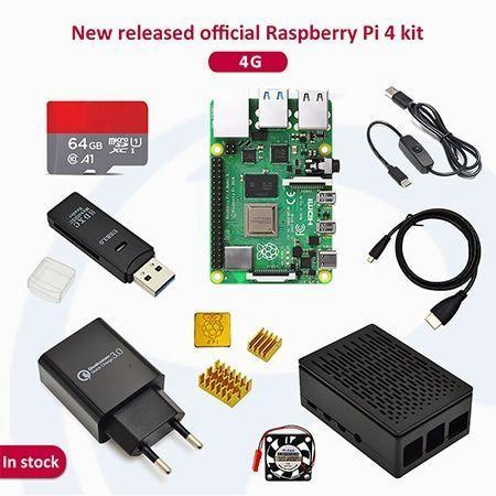 Raspberry pi 4 2GB/4GB/8GB Kit Raspberry Pi 4 Model B PI 4B +Heat  Sink+Power Adapter+Case +HDMI Cable+3.5 inch Screen